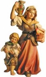 Hirtin mit Kind Krippenfigur Lasiert