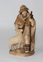 Hirte mit Stock und Schaf Krippenfigur Gebeizt