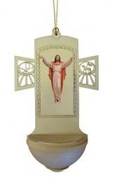 Weihwasserkessel Auferst.Christus Color 17 cm
