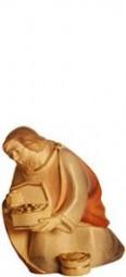Heiliger König Knieend Krippenfigur Lasiert