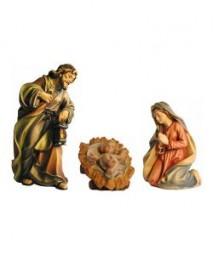 Heilige Famile Krippenfigur Lasiert