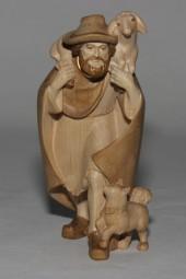 Hirte mit Schaf & Hund Krippenfigur Gebeizt