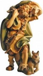 Hirt mit Schaf und Hund Krippenfigur Lasiert