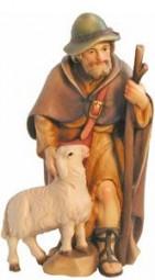 Hirte mit Stock und Schaf Krippenfigur Lasiert