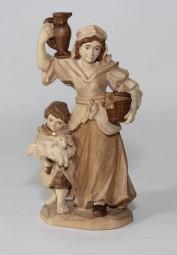 Hirtin mit Kind Krippenfigur Gebeizt