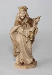König stehend Krippenfigur Gebeizt