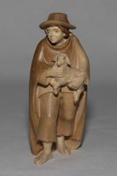 Hirte mit Lamm & Sack Krippenfigur Gebeizt